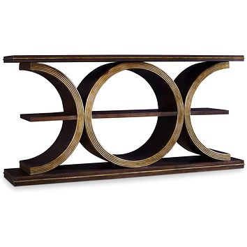 Console Table In Brown Finish With Gold Underton