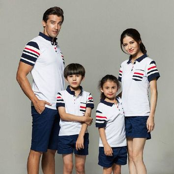 DCK9M2 2016 Family Clothes Sets Summer Style Cotton Striped Family Matching Shirts New Fashion Short T-Shirts Plus Size Family Look