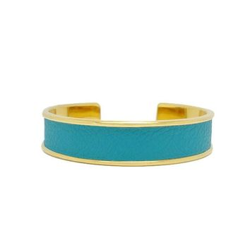 Turquoise Leather Bracelet Cuff Narrow