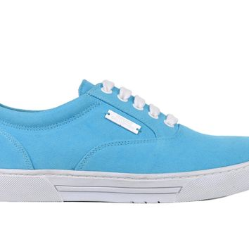 Versace Collection Mens Light Blue Canvas Lace Up Sneakers