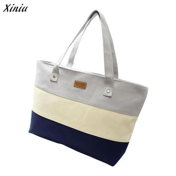 Xiniu Multicolor Striped Shoulder Bag Women Tote Bag Casual Messenger Bags Canvas Big Bags Bolsos De Mano #1011