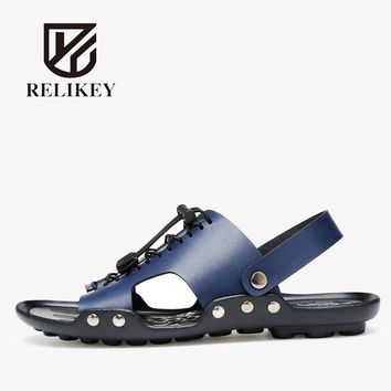 RELIKEY Brand Casual Men Sandals Genuine Cow Leather Slip-On Leisure Summer Fashion Shoes for Men