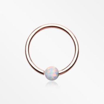 Rose Gold Fire Opal Basic Bendable Twist Hoop Ring