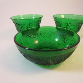 3 Vintage Green Bowls Anchor Hocking Sandwich Glass Pattern Custard Sherbet Berry Bowls 1950s