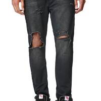 Bullhead Denim Co Dillon Skinny City Wash Destroyed Jeans - Mens Jeans - Blue