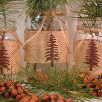 Pine Forest Trio of Mason Jars with rusty tin pine trees with burlap wrap