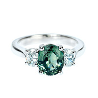 Green Sapphire Diamond Engagement Ring
