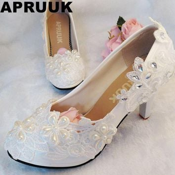 Lace wedding shoes women female woman's handmade sweet lace flower wedding pumps shoes brides pearl crystal lace shoes