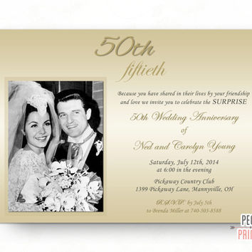 Surprise Wedding Anniversary Invitation - Surprise 50th Anniversary Invitation (Printable) Surprise 50th Wedding Anniversary Invitations