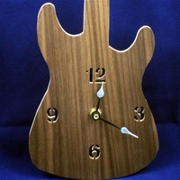 Guitar Wall Clock Handmade from Walnut Plywood
