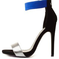 Metallic Color Block Single Strap Heels by Charlotte Russe - Cobalt
