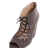 Gray Mary Lace-Up Open Toe Booties | $10 | Cheap Trendy Heels and Pumps Chic Discount Fashion for Wo