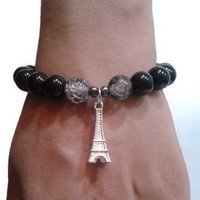 Eiffel Tower Charm Black Bracelet Glass Bead Handmade bracelet Women's Elegant Bracelet Friendship Best friends Love Bracelet French Gift