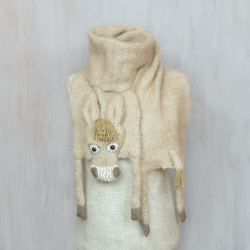 Woolen donkey — soft long shawl, animal scarf, original wrap, winter accessory, warm wool scarf, beige burro