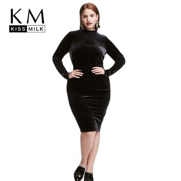 Kissmilk Plus Size Women Clothing Solid Ladies Dress Elegant Long Sleeve Vintage Velour Dress Zipper Big Size Dress 5XL 6XL 7XL