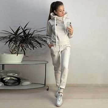 2019 New Autumn Winter Women Sets Tracksuit Female Long Sleeve Pullover Jackets And Pants Two Piece Set Warm Outfits Suit Girls