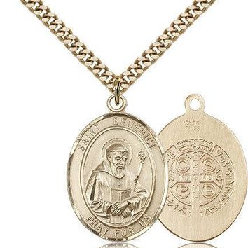 "Saint Benedict Medal For Men - Gold Filled Necklace On 24"" Chain - 30 Day Mon... 617759790641"