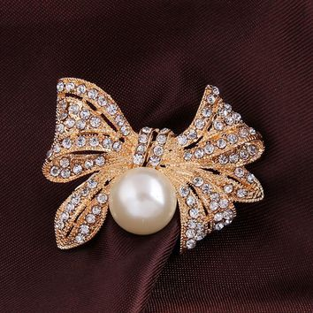 Bow Simulated Pearl Brooches for Dresses Scarf Pin Lapel Pins the Hunger Games Gift Crystal Brooch for Wedding Jewelry