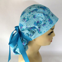 Bouffant Women's Surgical Scrub Hat or Sea Horses n' Bubbles