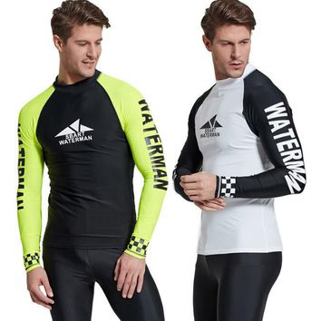Professional Men Loose Fit Long Sleeve Surf Swim Sun Protection Rash Guard Shirt Water Sport Tee M 3XL Big Size Free Shipping