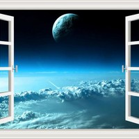 Outer Space Galaxy Universe Wall Decal Stickers Window View