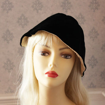 Vintage Black Velvet Rita Thornton Fabric Cloche Hat