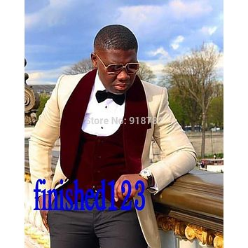 Traje De Hombre 2017 Ellegant Men Groom Suits Custom Made Shawl Lapel Wedding Tuxedo Groomsmen Prom Suit (Jacket+Pants+Vest+Bow)