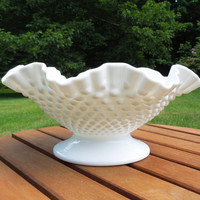 Fenton Glass hobnail milk glass bowl - Crimped milk glass fruit bowl - White glass bowl - Wedding decor - Country cottage wedding decor