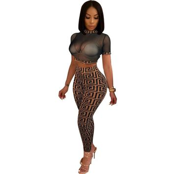 Sexy Women Mesh Tracksuit 2 Piece Set Crop Tops And Pants two piece set party outfits See Through Mesh Tops femme HM5155