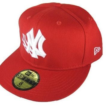 ESBON New York Yankees New Era MLB Authentic Collection 59FIFTY Caps Red-White