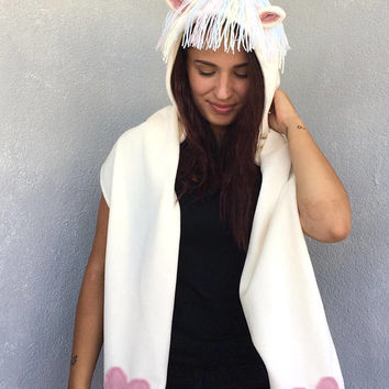 Unicorn Hooded Scarf, Unicorn Lovers, Hoodie Scarf, Animal Hooded Scarf, Rainbow Unicorn Hat, Hooded Cowl, Scoodie Scarf, Halloween Costume