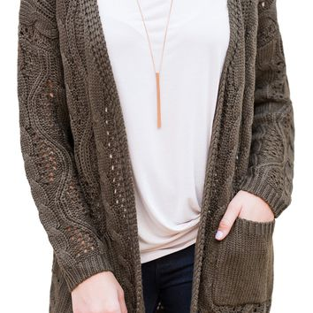 Chic Olive Green Hollow Out Open Front Cardigan with Pockets
