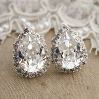 Crystal Ice big teardrop stud earring Brides jewelry, bridesmaids earrings - silver plated swarovski genuine crystals
