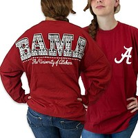 Alabama Crimson Tide Women's Aztec Logo Sweeper Long Sleeve Oversized Top Shirt