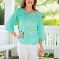 Creatively Crossed Top, Mint