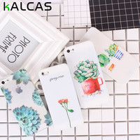 KALCAS For Iphone 5 5S SE 6 6S 7 Cases Soft Silicon Slim Cover Thin Clear Plant Flower Print Phone Case For Iphone5S 6S 7 Fundas