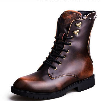 Warmth Euro Style Funky Personality Studs Natural Leather Rub Skin Color Skull Biker Mens Winter Boots Ankle New Arrival