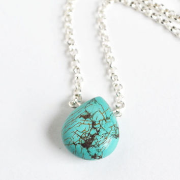 Single Turquoise Drop Stone Necklace, Detailed Vein Turquoise Small Stone Necklace, Blue Stone Jewelry, Single Strand Turquoise Necklace