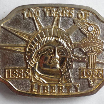 Statue of Liberty 1886-1986 100 years Belt Buckle with Diamond Vintage