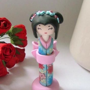 Miniature Doll, Shabby Chic ,Light Blue and Pink Kimono, Handmade Collectible Doll, Sculpture kokeshi Doll