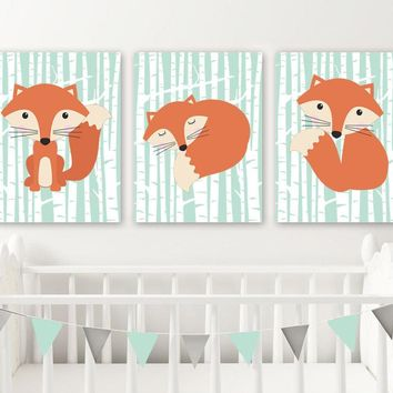 FOX Wall Art, FOX Nursery Wall Decor, Fox Birch Trees Wall Art, Mint Woodland Nursery Art, Birch Fox Nursery Decor CANVAS or Print Set of 3