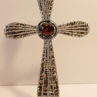 Beaded Wire Standing Cross Sculpture Religious Home Decorating Accents