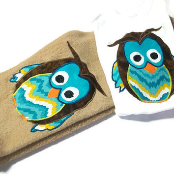 Baby Boy Clothes - Boy Winter outfit -Fleece Pants - Onesuit Set - Owl For Baby Boy