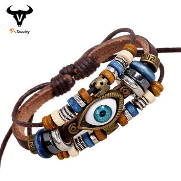 Punk Design Turkish Evil Eye Bracelets Wristband Female Genuine Leather Bracelet Ethnic Vintage Jewelry For Women Men Bijouterie