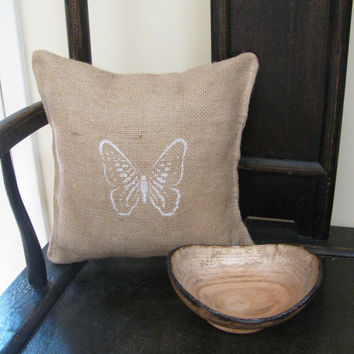 Burlap Decorative Accent Pillow - Handcrafted Burlap Pillow With Butterfly Stencil Accent