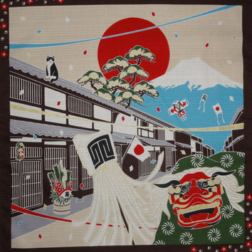 Small Size Cotton 'Tama the Cat on New Year's Day' Motif Furoshiki Japanese Fabric w/Free Shipping