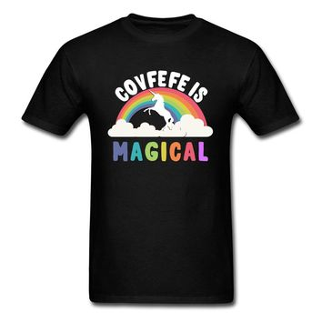 Covfefe Is Magical 2018 Donald Trump T Shirt Men Funny T-shirt Unicorn Rainbow Letter Graphic Tops Tees Hip Hop Clothes