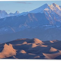Early Morning Sand Dunes And Snow Covered Peaks Acrylic Print