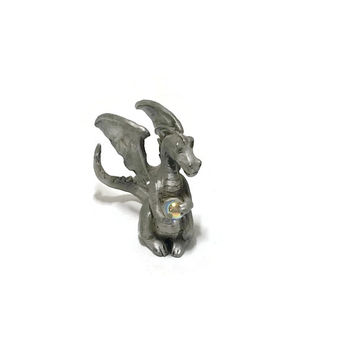 Vintage Miniature Pewter Dragon Figurine with Crystal Ball Fantasy Decor, Gothic Decor, Dragon Figurine