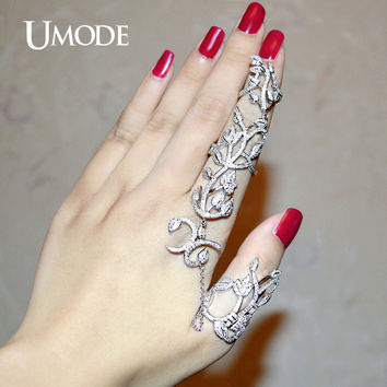UMODE Unique Two Full Finger Ring With Chain Micro Round Clear CZ White Gold Color Rings for Women Gorgeous Jewelry Anel UR0264